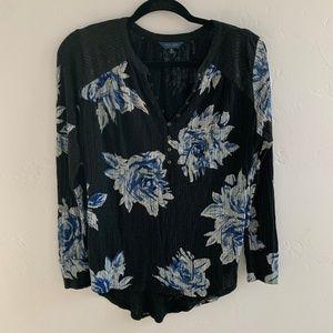 Lucky Brand Floral Boho Henley Tunic Top M